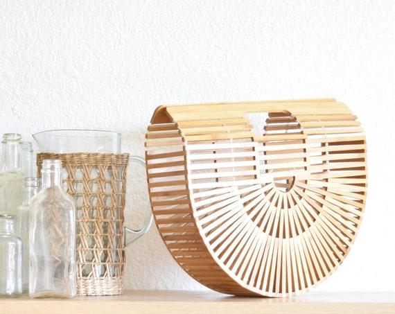 mid century style bamboo wood handbag clutch / geometric rattan purse