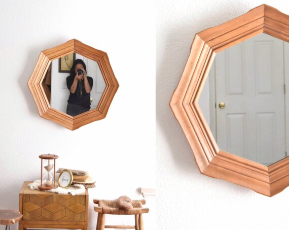 vintage carved wood octagon wall hanging mirror | diamond shaped mirror