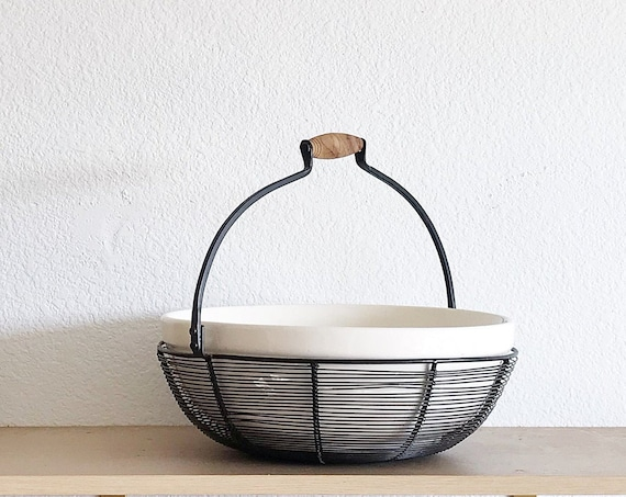 large modern industrial black metal round wire basket with white bowl / farmhouse