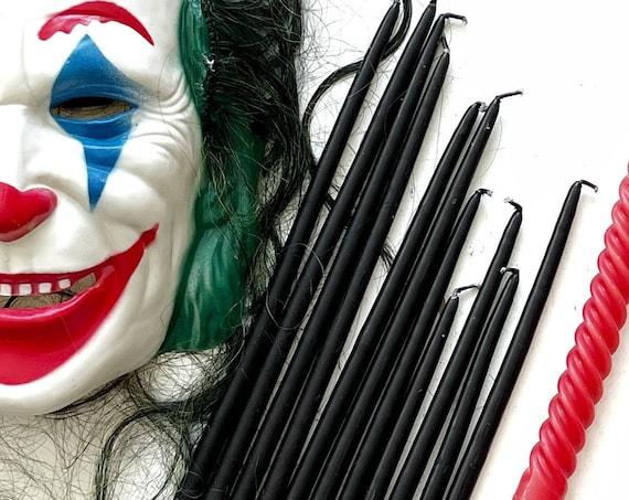 Halloween half inch black tapered wax candle set | candleholder sticks