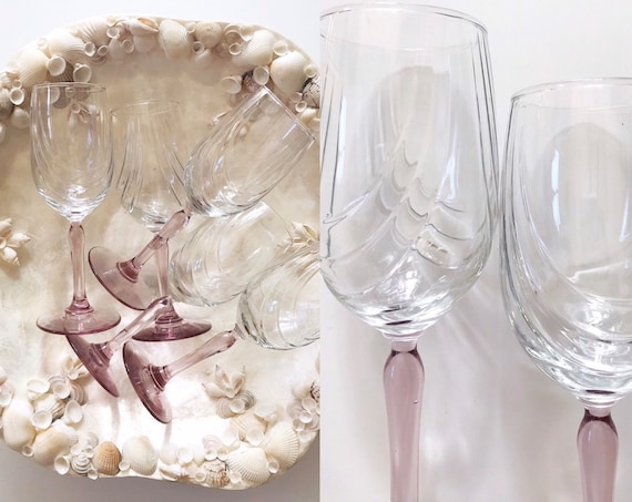 set of 5 pink purple stemware champagne wine glasses / barware gift ware