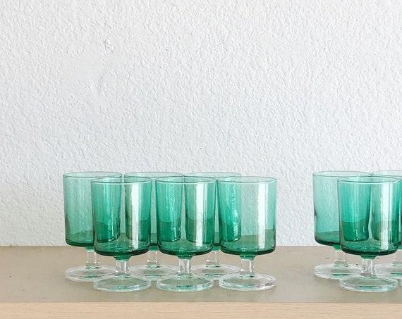set of 6 green short stemware wine glasses / gift barware