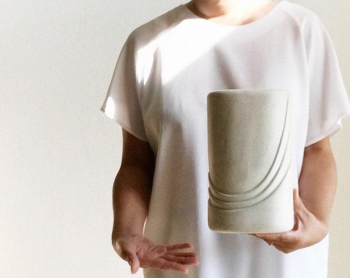 large art deco 80s modern haeger red burgundy ceramic pottery flower vase