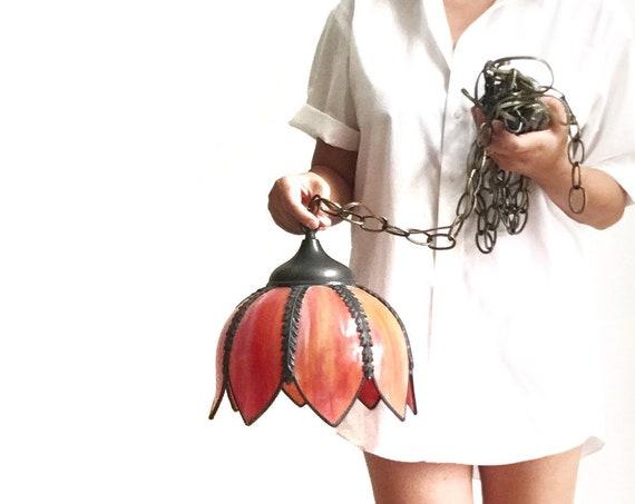 vintage hanging slag glass red orange lotus flower pendent light | hollywood regency swag lamp