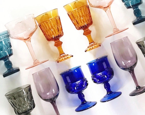 mix colored collection of 6 multicolored glass champagne wine glass goblets / wedding glass set