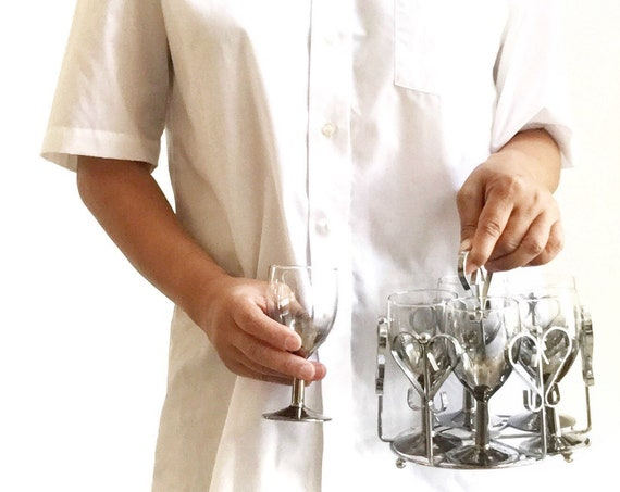 mid century ombre silver rim cocktail caddy set / madmen style