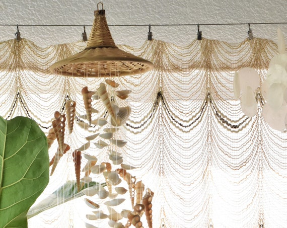 vintage seashell wall hanging mobile chandelier / sea shell lantern / bohemian beach house decor