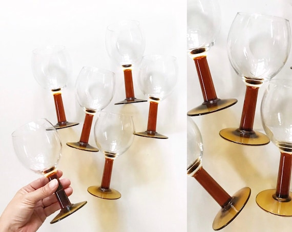 set of 6 vintage amber brown stemmed wine glasses / drinking glass goblets