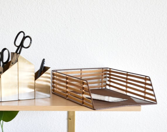 metal woven rattan bamboo office paper holder / storage organizer