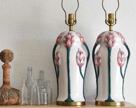 pair of gorgeous mid century art nouveau chapman flower table lamps / set