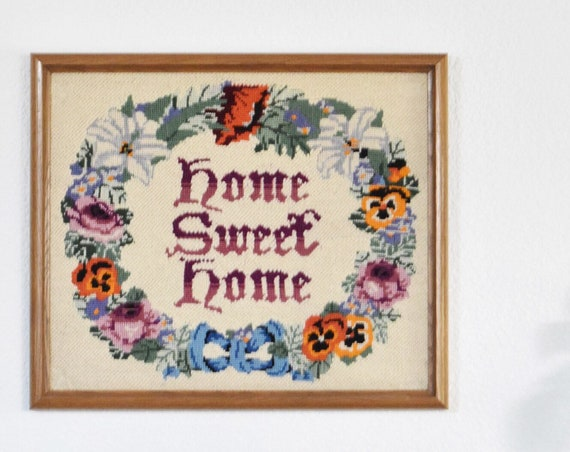 framed home sweet home crewel flower embroidery framed picture / cross stitch / needlepoint / wall hanging
