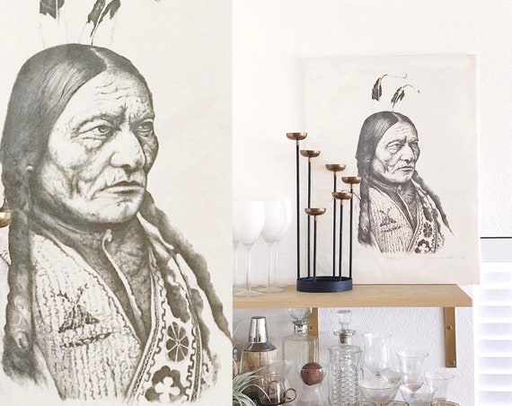 poster size native american indian chief Sitting Bull portrait litho print / sioux tribal wall hanging