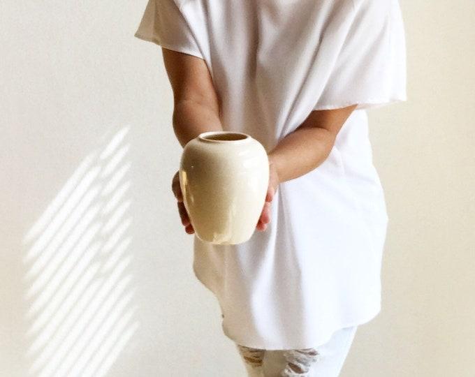 small off white ceramic modern pottery flower vase