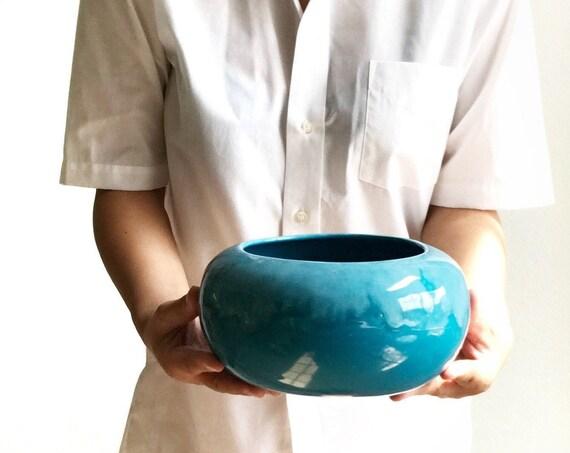 frank moreno round blue lava glazed ceramic planter flower pot | orb vase