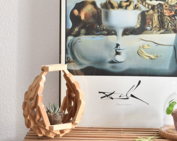 mid century modern geometric wood hanging planter / flower pot / crescent moon
