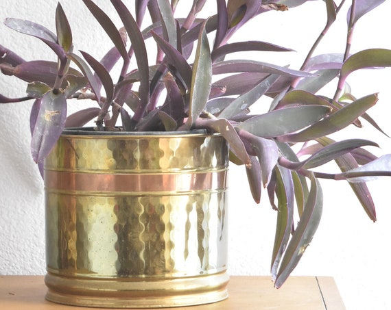 mid century hollywood regency medium size hammered solid brass planter flower pot with copper trim