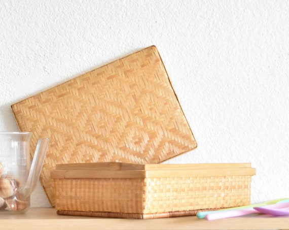 pretty woven rattan lidded gift basket | trinket box with diamond shaped design | storage container