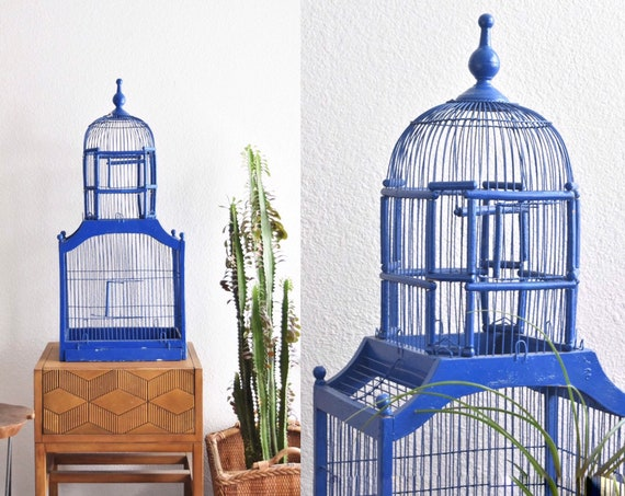 large blue 1960s vintage old wooden metal wire dome birdcage / birdhouse