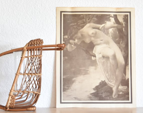 vintage french nude print of naked lady / nude drawing of a woman