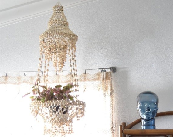 vintage large seashell hanging mobile plant holder / sea shell lantern / bohemian chandelier