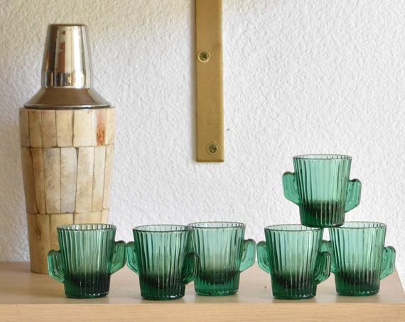 vintage small green glass cactus shot glasses / tumblers / gift barware for cinco de mayo party