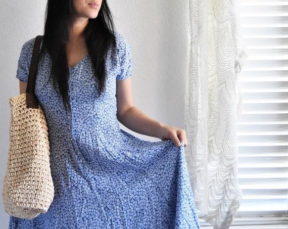 vintage women's long blue button up floral summer dress
