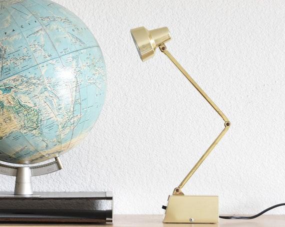 mid century industrial adjustable gold office tensor lamp / small desk lamp