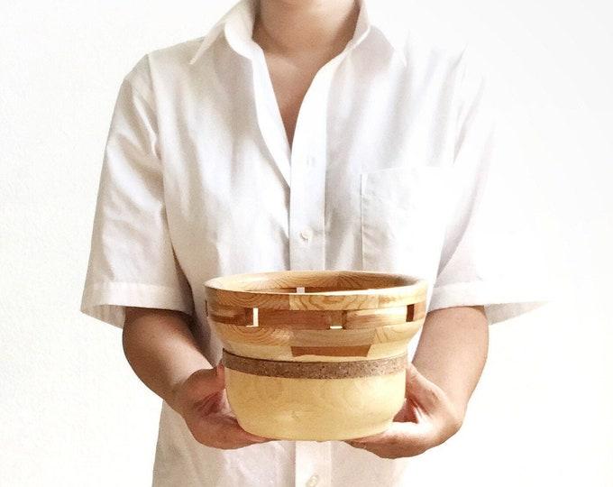 segmented carved turned pine oak cedar wood bowl | woodwork art