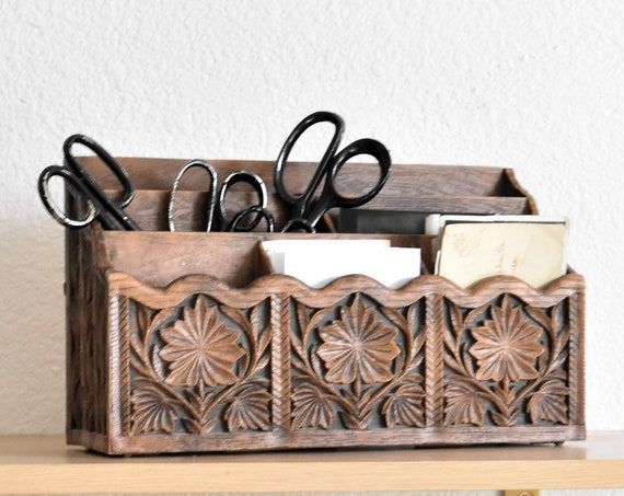 mid century faux carved wood office file storage / note holder