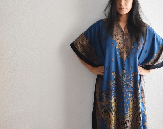 vintage blue tent dress poncho night gown / long bohemian skirt