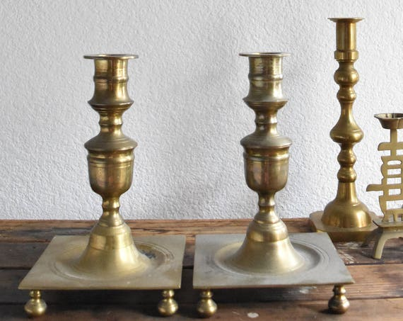 large bulky pair of ornate solid brass candle holders // table centerpiece
