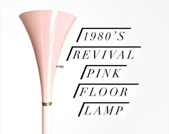 80s metal pastel pink vintage post modern floor lamp | tall standing lamp