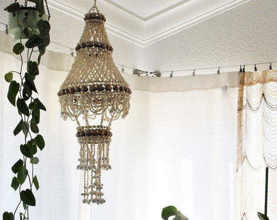 vintage large seashell hanging mobile plant holder / sea shell lantern / bohemian chandelier