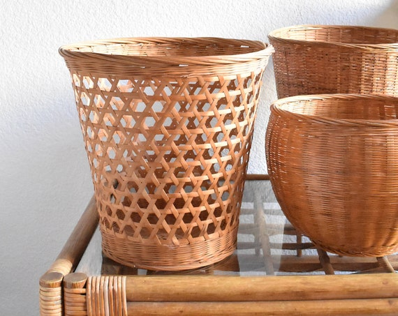 woven rattan bamboo wicker cut out basket / indoor planter