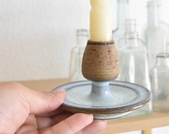 blue stoneware glazed candleholder / candlestick holder