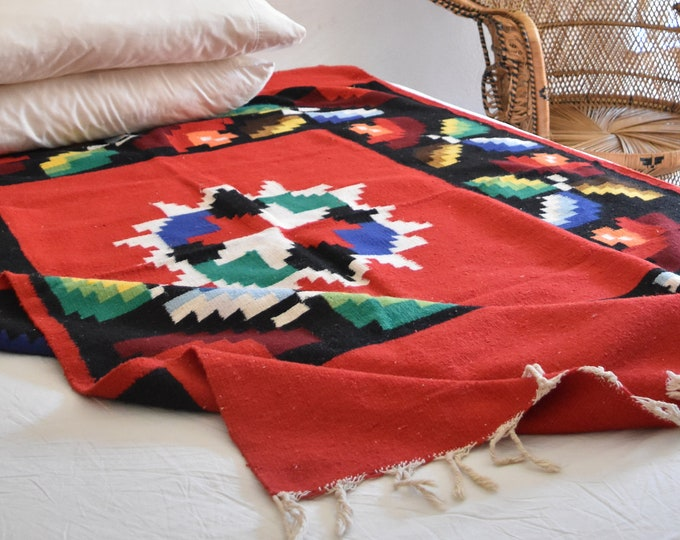 authentic multicolored red woven wool mexican serape throw rug / wall tapestry / blanket / saltillo