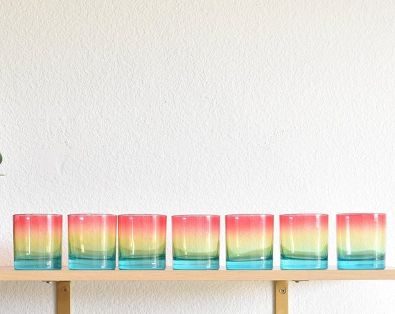 multicolored rainbow drinking glass tumbler set | matching cups