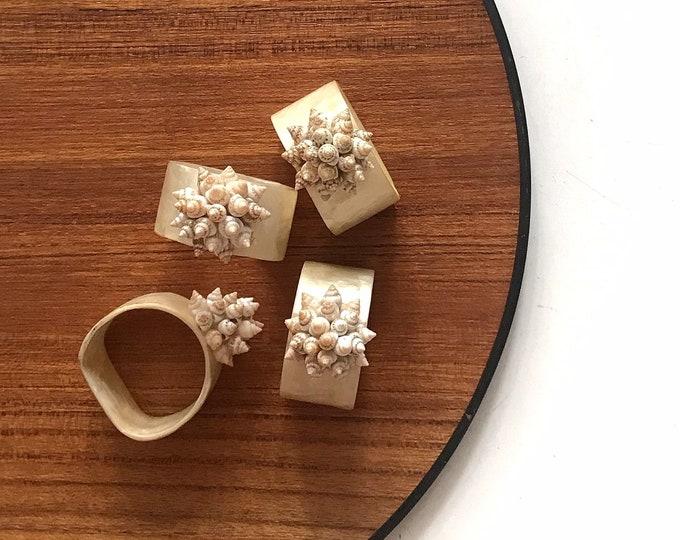 vintage set of capiz shell flower napkin ring holders | housewarmings gift