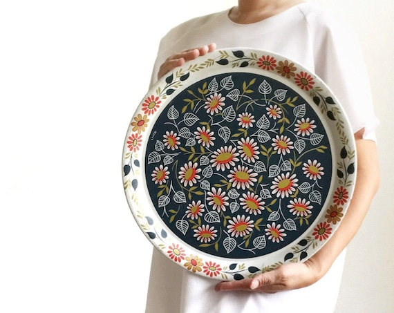 extra large vintage daisy flower tin tray plate | shabby chic wall hanging