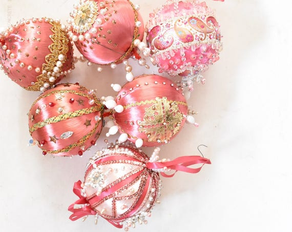 set of large pink gold handmade studded jewel jewelry Christmas ornaments