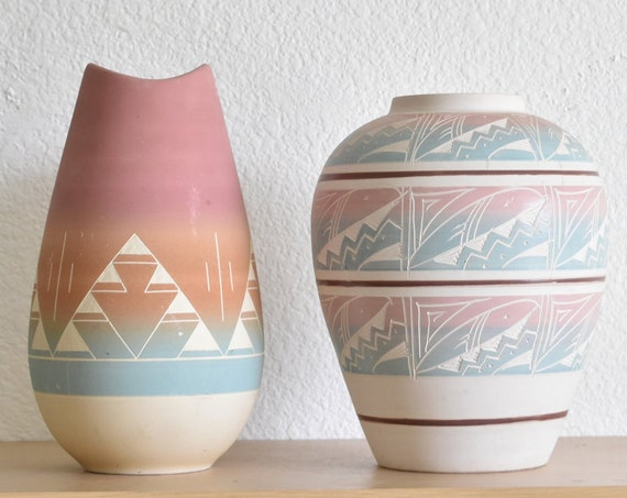 pink blue multicolored mesa verde pottery navajo etched hand painted ceramic wedding vase / flower pot