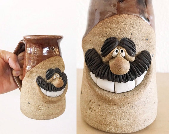 funny face hand thrown old man grandpa stoneware coffee mug / pottery sculpture / gift for grandpa dad