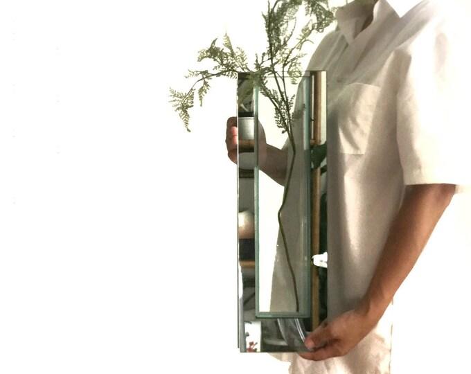 art deco tall rectangular mirror glass flower vase