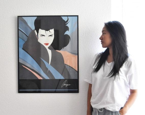 framed large vintage 80s Patrick Nagel girl litho print / graphic posters / pop art