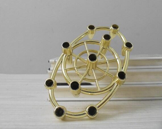 atomic mid century modern gold tone metal candleholder / taper candles / candlestick holders / candelabra