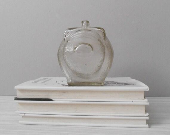 vintage retro glass little pig coin bank / piggy savings / pig figurine