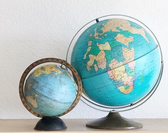 solid metal 12 inch mid century modern ohio art company world globe / blue