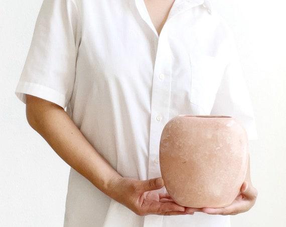 1980s revival speckled muted pink flower ceramic vase