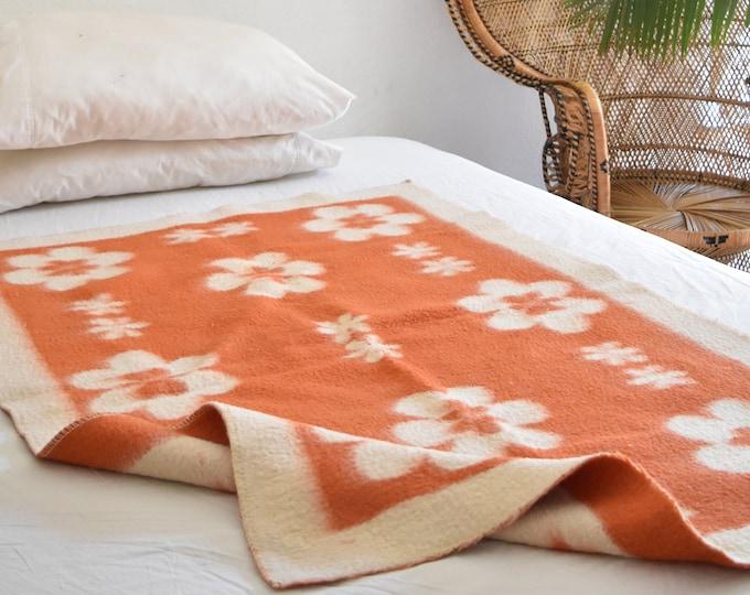 mod orange flower wool baby blanket / throw / baby nursery decor