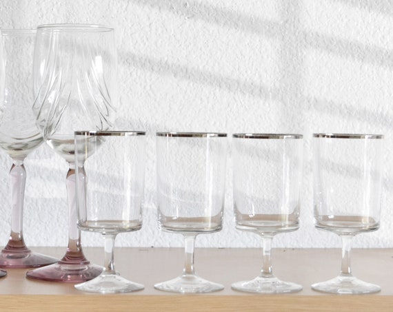 mad men style set of martini glasses with silver rim | goblets | set of 4